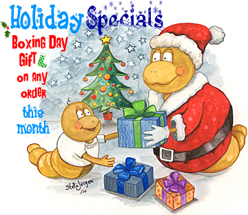 Holiday Specials - Boxing Day Gift - Recorp Inc. December Special, Copyright © 2010, Recorp Inc., illustration by Stella Jurgen.