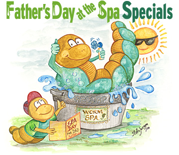 Father's Day at the Spa - Recorp Inc. June Special, Copyright © 2010, Recorp Inc., illustration by Stella Jurgen.