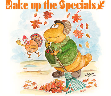 Rake up these Specials - Recorp Inc. November Special, Copyright © 2010, Recorp Inc., illustration by Stella Jurgen.